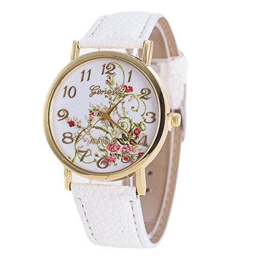 Tensay - Reloj de pulsera analógico para mujer con diseño de flores, correa de piel sintética, Blanco