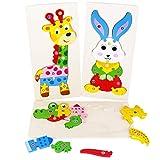 jerryvon Puzzle Madera de Animales Juguete y Numeros Infantiles Juguetes Educativos Aprendizaje Montessori Juegos Rompecabezas Regalos para Niños Niñas 3 4 5 Años