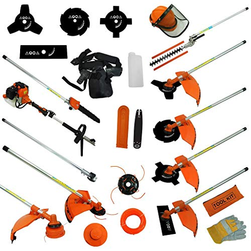 Todeco - Outil de Jardinage Multifonction, Outils à Essence - Cylindrée: 52 cm³ - Fonctions: Coupe-herbe - Orange, 10 en 1