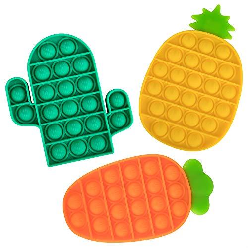 OKCS 3er Set - Fidget Toy Pop It - Push It - geprüft & kinderfreundlich - für Kinder & Erwachsene - zur Ablenkung bei Stress & Nervosität Push Bubble - Karotte, Ananas und Kaktus