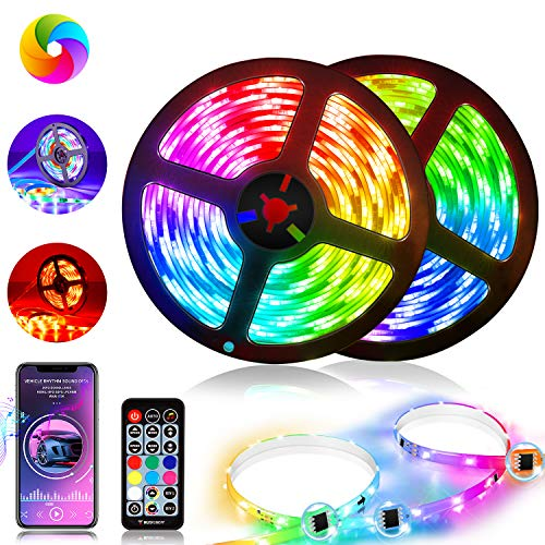 Tohsssik LED Strip Lights 2 Rolls of 16.4ft with Remote and Power Supply Flexible Length Color Changing 5050 RGBIC 300 LEDs Light Strips Kit for Bedroom, Kitchen, Home Decoration