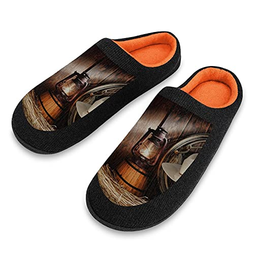 Men's Slip On Slippers American Western Cowboy Lined Warm Knitted Waterproof Bottom Shoes Suitable for Living Room