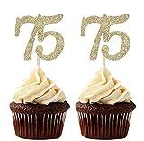 24 piezas doradas con purpurina número 75 para decoración de magdalenas, decoración para...