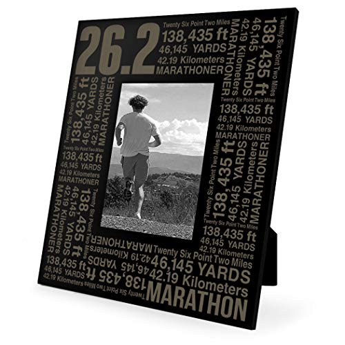 Gone For a Run 26.2 Math Miles Frame | Engraved Running Picture Frame Vertical 5X7