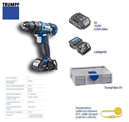 Trumpf TruTool DD1010 Akku-Bohrschrauber 10,8V mit 2x 2.0Ah Li-Ion Akku und Ladegerät in S1-Box; ***inkl. Gratiszugabe: 2m Zurrgurt