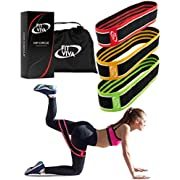 Fabric Resistance Bands Set - Booty Hip Bands for Legs, Shoulders and Arms Exercises - Perfect for Fitness, Glute or Squat Workout - 3 Non-Rolling Circle Bands for Women and Men (3 Bands Set)