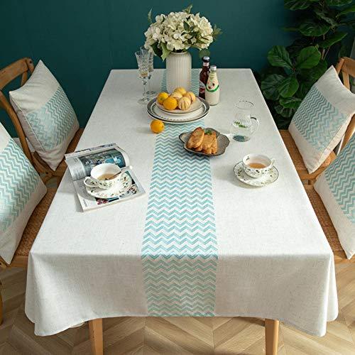 XIAOBAO Mantel Impermeable, patrón de Onda Bordado Simple algodón y Lino Mantel Cuadrado Impermeable-Verde-A_140 * 300CM, Mantel Limpio con un paño