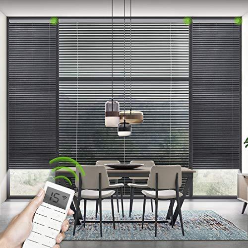 Yoolax Elektrische Jalousien mit Fernbedienung und Akkumotor Aluminium Tür Fenster Jalousette Rollo Wand und Deckenmontage nach Maß(Schwarz) B:56-90, H:100-130