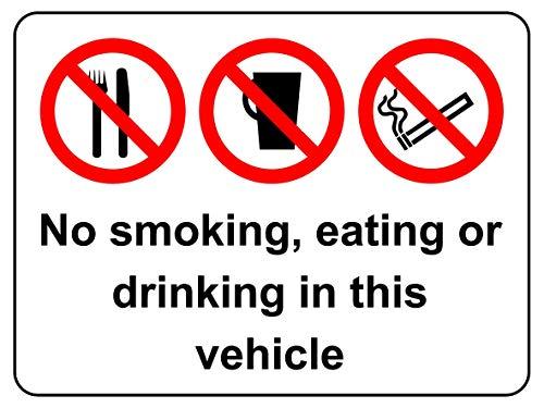 Niet roken, eten of drinken in dit voertuig Auto taxi veiligheidsbord - Zelfklevende sticker 200mm x 150mm