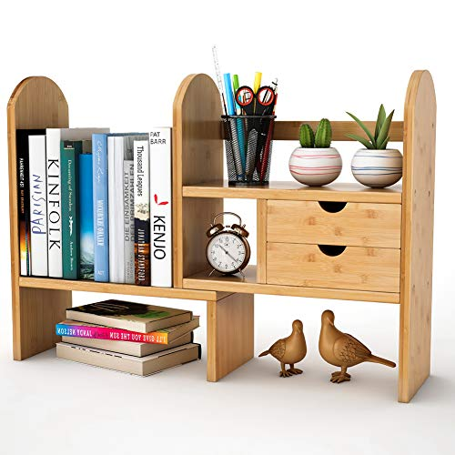 Tribesigns Bamboo Desktop Bookshelf Counter Top Bookcase Adjustable with 2 Drawers, Desk Storage Organizer Display Shelf Rack for Office Supplies, Kitchen ,Bathroom, Makeup (Natural)