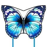 Kyman Cometa, Cometa Niños Diversión Cometas for niños fácil de Volar con Deportes al Aire Libre de la Mariposa Rosa Azul Cometa de Gama Alta Rollo (Color: Rosa) (Color : Blue)