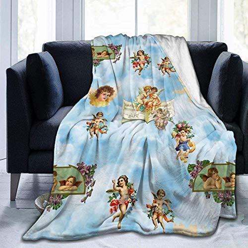 Manta de forro polar softan, manta de felpa con diseño de nubes de ángel, cálida, para niños, niñas y adultos, impresión 3D, perfecta para sofá, cama, todas las estaciones, 50 x 40 cm