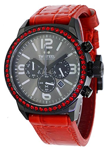TW Steel Marc Coblen Edition Chrono mit Lederband 42 MM Grey Sunray/Red MCPR7