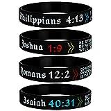 Sainstone 4-Pack Power of Faith Christian Bible Verse Silicone Bracelets - Philippians 4:13, Joshua 1:9, Romans 12:2, Isaiah 40:31 - Religious Scriptures Wristbands Church Gifts, Adult for Men Women