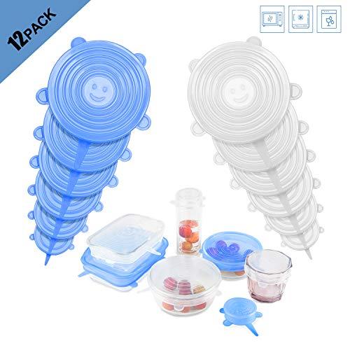 iTrunk 12er-Packungen aus Silikon, BPA-frei und erweiterbar für Verschiedene Formen von Behältern, Geschirr, Schüsseln, Safe in Spülmaschine, Mikrowelle und Gefrierschrank