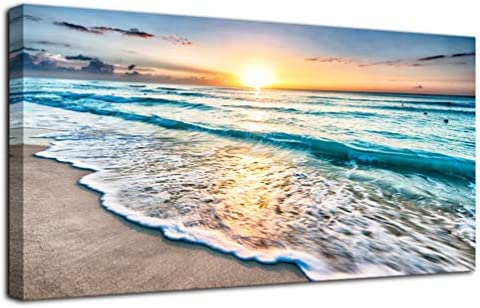 None Brand Beach Sunset Landscape Wall Art Blue Seascape Ocean Picture Canvas Print Painting product image