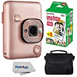 Fujifilm Instax Mini LiPlay Hybrid Instant Camera (Blush Gold) + Fujifilm Instax Instant Film (20 Shots) + Compact Camera Case  – Instant Camera Bundle