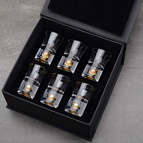 ZKGHJOKZ Whiskyglas Hoogwaardige handleiding Crystal borrelglas Ingebouwd puur goud Bladgoud Gedistilleerde drank Vuurwater Mini wijnbekers Wijnverdeler Geschenkdoos
