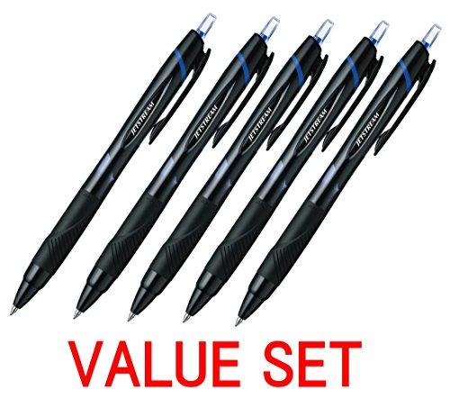 Uni-Ball - Penne roller Jetstream a scatto, punta sottile extra, grip in gomma, tratto da 0,7mm, inchiostro blu, set da 5 (prodotto originale) 1