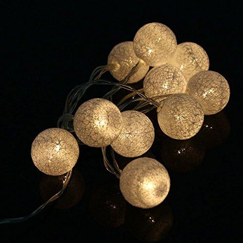 LEEDY 2019 - Guirnalda de luces con 10 luces LED de algodón para decoración del hogar, jardín, Navidad, fiesta, boda, festival, escenario, ambientación, 1,3 m