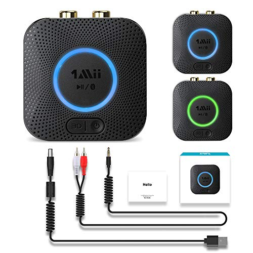 [2020] 1Mii B06 LL Mini Bluetooth Receiver, HiFi Wireless Audio Adapter, Bluetooth Receiver with 3D Surround aptX Low Latency for Home Stereo System 12hrs Playtime(No Power Adapter)