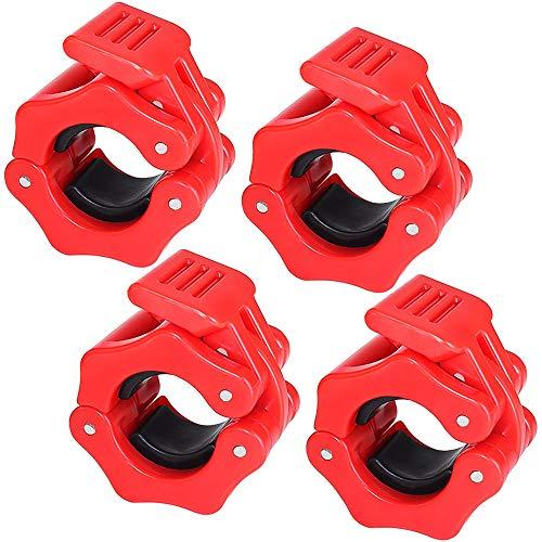 Rayong 4 pinzas para pesas olímpicas de 1 pulgada, collar para levantamiento de pesas para entrenamiento de pesas, entrenamiento de fuerza, color rojo delicado