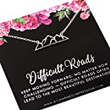 Difficult Roads Often Lead to Beautiful Destinations • 925 Sterling Silver • Support Encouragement • Gift for Her • You are Strong • Mountain Charm Necklace • Personalized Inspirational Mantra Jewelry