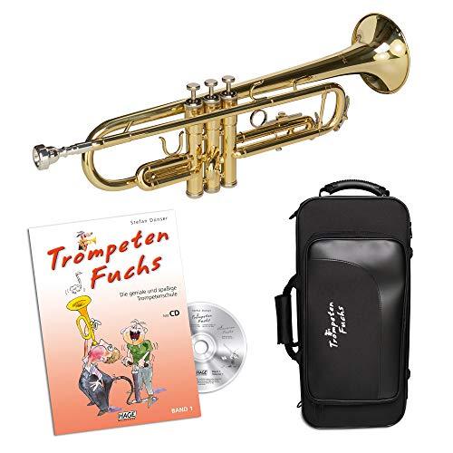 Cascha Trompeten Fuchs Anfänger-Set deutsch I hochwertige Bb Trompete für Einsteiger inkl. Zubehör I Trompeten Fuchs Band 1 - stabiler Trompeten-Koffer - Mundstück I Einsteiger-Set Trompete Gold