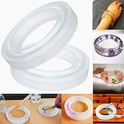 Haudang - Molde redondo de silicona para hacer pulseras y pulseras (4 unidades)