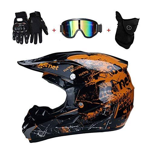 Caschi da Motocross e off-Road Casco da Moto Set con Occhiali Maschera Guanti, Bambini BMX Caschi da Cross Sport e Tempo Libero Motocicletta ATV MTB Downhill Enduro Racing Casco,Arancia,S(52cm~53cm)
