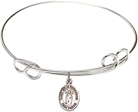 7 1/2 inch Round Double Loop Bangle Bracelet with a St. Ivo of Kelmartin charm./Saint Ivo of Kermartin is the patron saint of Attorneys/Orphans. Memorial Day May 19th./Attorneys/Orphans