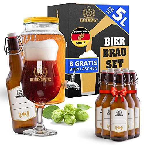 Heldengenuss - 20 Teile - Bierbrauset Pale Ale mit [BRAUERLEBNIS] - 5L Bier Geschenke für Männer - Bier Brauen Set für Zuhause