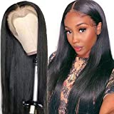 Ali panda Straight Lace Front Human Hair Wigs 13x4x0.5 T Shape Middle Part 150% Density Brazilian Lace Frontal Wigs for Black Women (26inch, Natural Color)