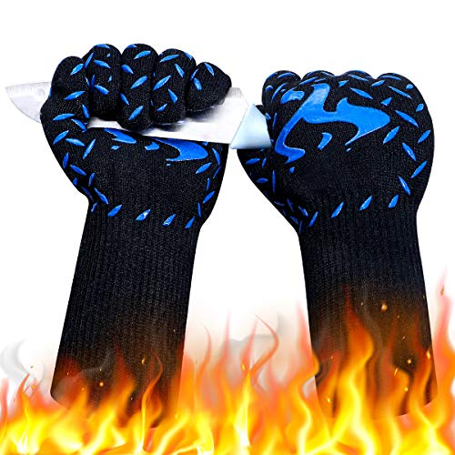 DUTOUE 1472℉Extreme Heat Resistant BBQ Gloves,Food Grade Kitchen Oven Mitts,Professional Silicone Non-Slip Flexible Oven Gloves for Grilling,Baking,Welding(1 Pair,Blue,13 Inch)