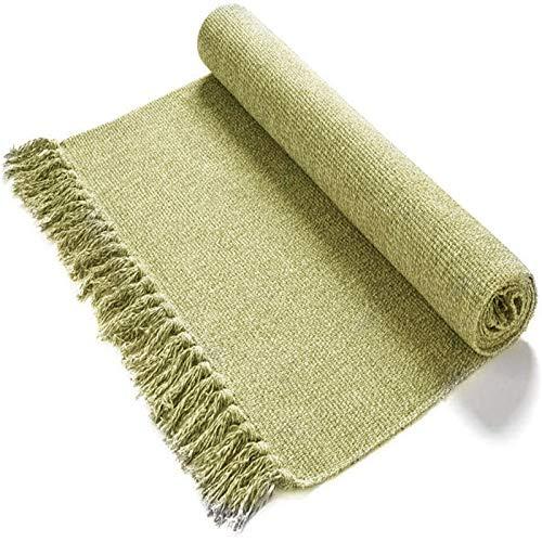 Cleana Arts Tappeto in Cotone Intrecciato a Mano, Reversibile, con Nappe, per la Lavanderia, per Interni e per Il Bagno Verde 60cm*130cm