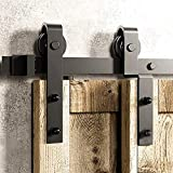 GWXFHT Porte Coulissante Kit Kit de quincaillerie de Rail de Porte de Grange Double de 150 à 400 cm, Accessoires de Rail de Porte...