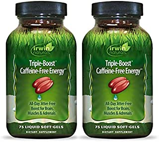 Irwin Naturals Triple-Boost Caffeine-Free Energy - Lasting, Jitter-Free Focus - Brain Boosting Nootropic - 75 Liquid Softg...