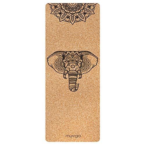Myga RY1321 - Esterilla de yoga de corcho con diseño de mandala de elefante, respetuosa con el medio ambiente, con gran agarre, 205 x 70 cm, 6 mm de grosor