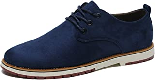 PengCheng Pang Oxford Shoes for Men Formal Shoes Lace Up Style Suede Leather Casual Outdoors Pure Colors Low Top (Color : Blue, Size : 6.5 UK)