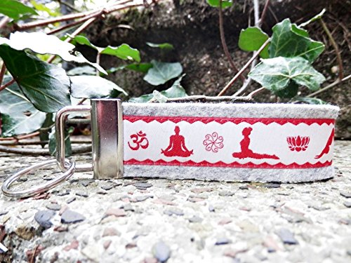 Schlüsselanhänger Schlüsselband Yoga hellgrau asana's Körperstellungen rot weiß Geschenk!