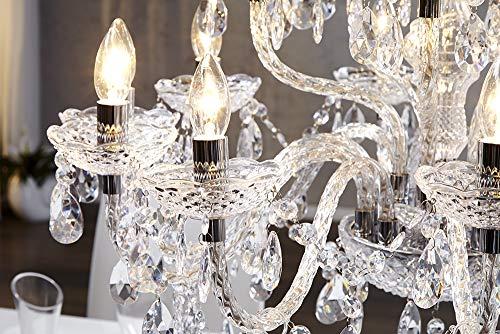 15-flammiger XL Kronleuchter CRYSTAL Lüster mit Acrylglas Prismen klar Hängelampe Barock Hängeleuchte E14 15-armig - 6