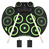 YISSVIC Electronic Drum Set Electric Drum Set 9 Drum Pads Rechargeable Battery Roll Up Drum Portable with...