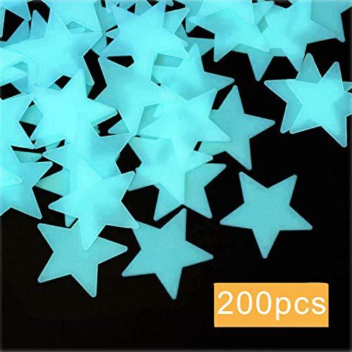 ACTENLY Leuchtende sterne,200 Stück Leuchtsticker Wandtattoo,Fluoreszierend Wand Aufkleber Plastik,für fluoreszierend Leuchtaufkleber für Kinderzimmer (Blau)