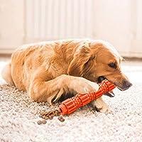 Tichan 犬の歯のクリーニング犬の歯のスティック犬の歯ブラシ、犬のペットの咬傷抵抗力のあるゴムのおもちゃ犬のための犬のおもちゃ積極的な噛む人のための犬のおもちゃ (オレンジ, S)