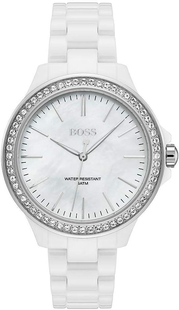 Hugo boss orologio analogico da donna con cinturino in ceramica e quadrante con cristalli 1502454