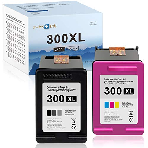 Swiss Ink Kompatibel Patronen Ersatz für HP 300XL 300 XL Tintenpatronen für HP Deskjet D5660 F2400 F2410 F2420 F2430 F2440 F2480 F2492 F4200 F4210(1 Schwarz, 1 Farbe)