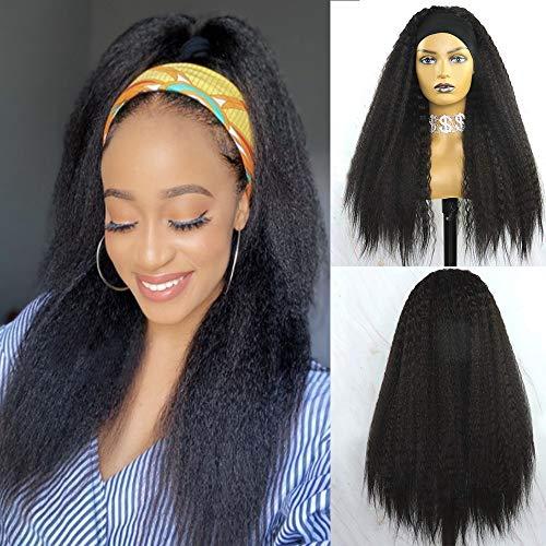 YYsoo Long Kinky Straight Natural Black Headband Wigs for Black Women 2 in 1 Headwrap Synthetic Yaki Futura Heat Resistant Fiber Turban Wig for Girls Daily Use
