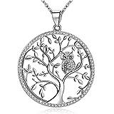 Collier Arbre de vie avec chouette, collier et chaîne en cristal zirconium pour...