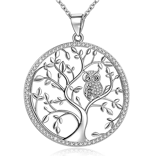 GOXO Colgante de árbol de la vida de plata de ley con búhos, cadena para mujer y niña (árbol de la vida)