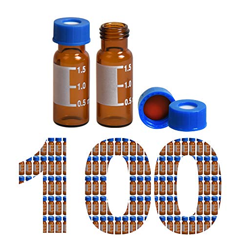 100 Pack Membrane Solutions 2ml HPLC Vials 9-425 Autosampler Vials with Write-on Spot and Graduations Type Threaded Vial and 9mm Blue ABS Screw Caps & Septa, Amber